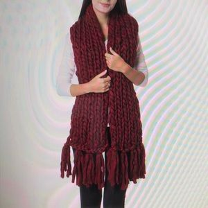 Accessories - MAROON 100% POLYESTER BRAIDED SCARF